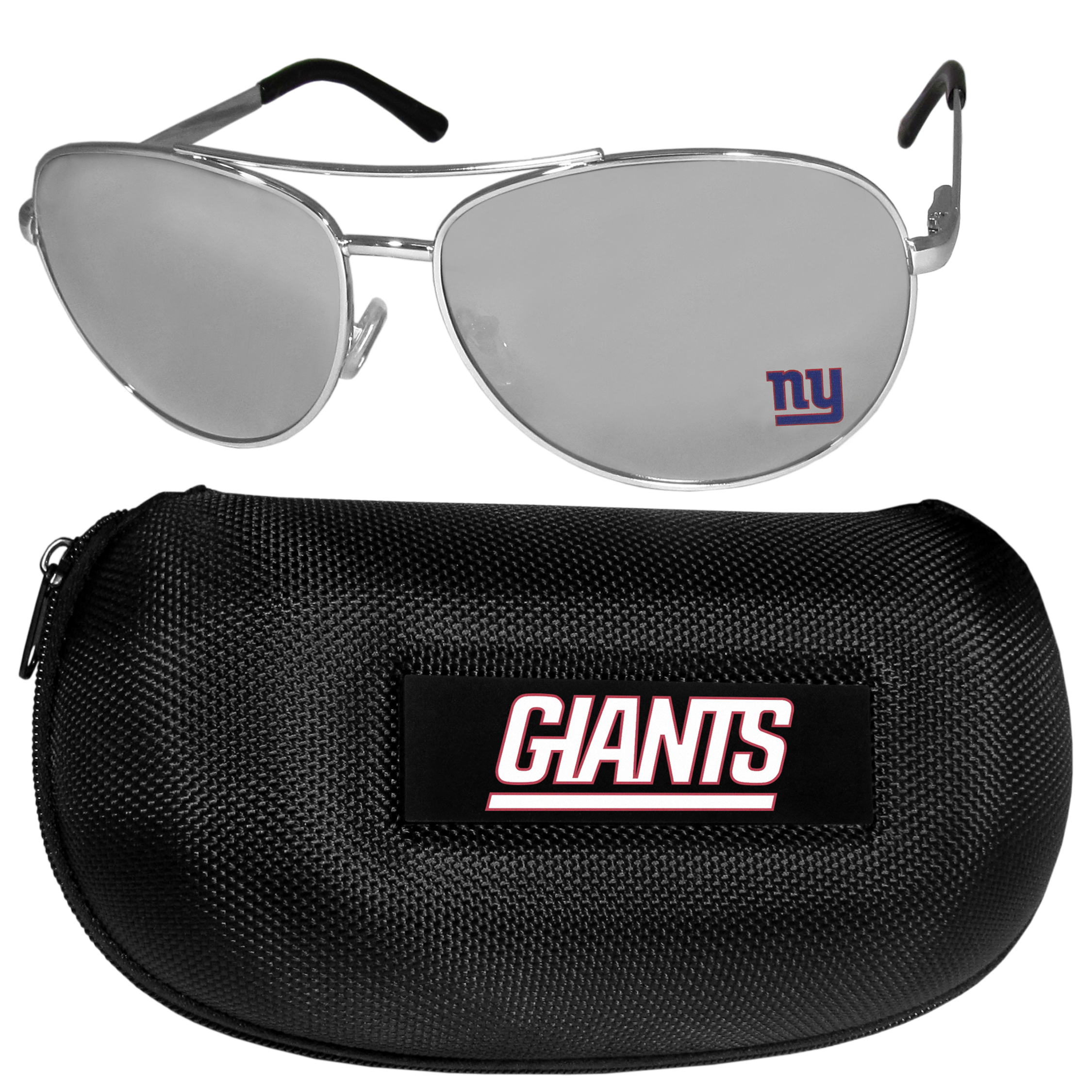 New York Giants Aviator Sunglasses and Zippered Carrying Case - Aviator sunglasses are truly an iconic retro fashion statement that never goes out-of-style. Our New York Giants  aviator sunglasses pair this classic look with your love of the game. The iridium coated lenses reduce glare while driving, boating, golfing and their 100% UVA/UVB rating provides you with the maximum UV protection for all your outdoor activities. A millennial favorite, these affordable designer frames are the perfect eyewear accessory for a sports fan that is looking for high-quality at an affordable price. The durable, flex hinged frames are tough enough for hiking and camping or if you prefer sun bathing by the pool or on the beach these shades will really stand the test of time. The sunglasses come with a hard shell zippered case which has a large team logo on the lid that will make even the most die-hard fan proud!