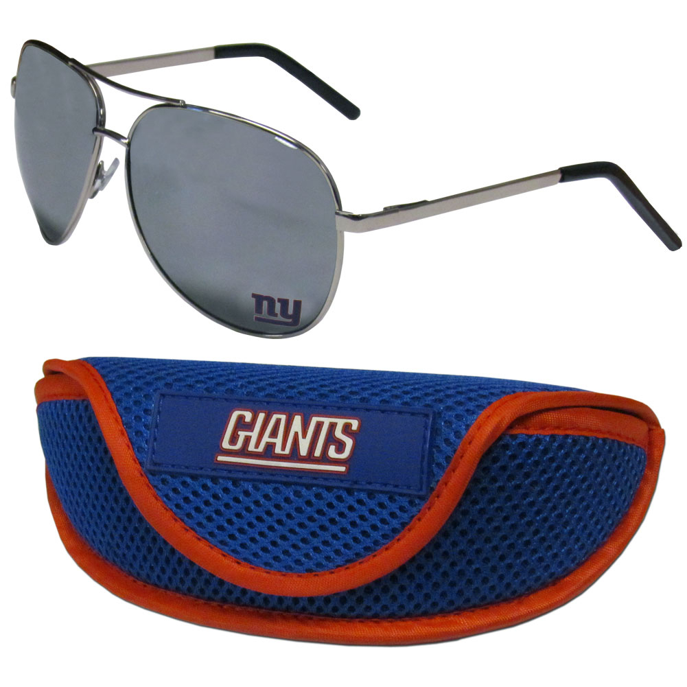 New York Giants Aviator Sunglasses and Sports Case - Aviator sunglasses are truly an iconic retro fashion statement that never goes out-of-style. Our New York Giants  aviator sunglasses pair this classic look with your love of the game. The iridium coated lenses reduce glare while driving, boating, golfing and their 100% UVA/UVB rating provides you with the maximum UV protection for all your outdoor activities. A millennial favorite, these affordable designer frames are the perfect eyewear accessory for a sports fan that is looking for high-quality at an affordable price. The durable, flex hinged frames are tough enough for hiking and camping or if you prefer sun bathing by the pool or on the beach these shades will really stand the test of time. The sunglasses come with a sporty case which has a large team logo on the lid that will make even the most die-hard fan proud!