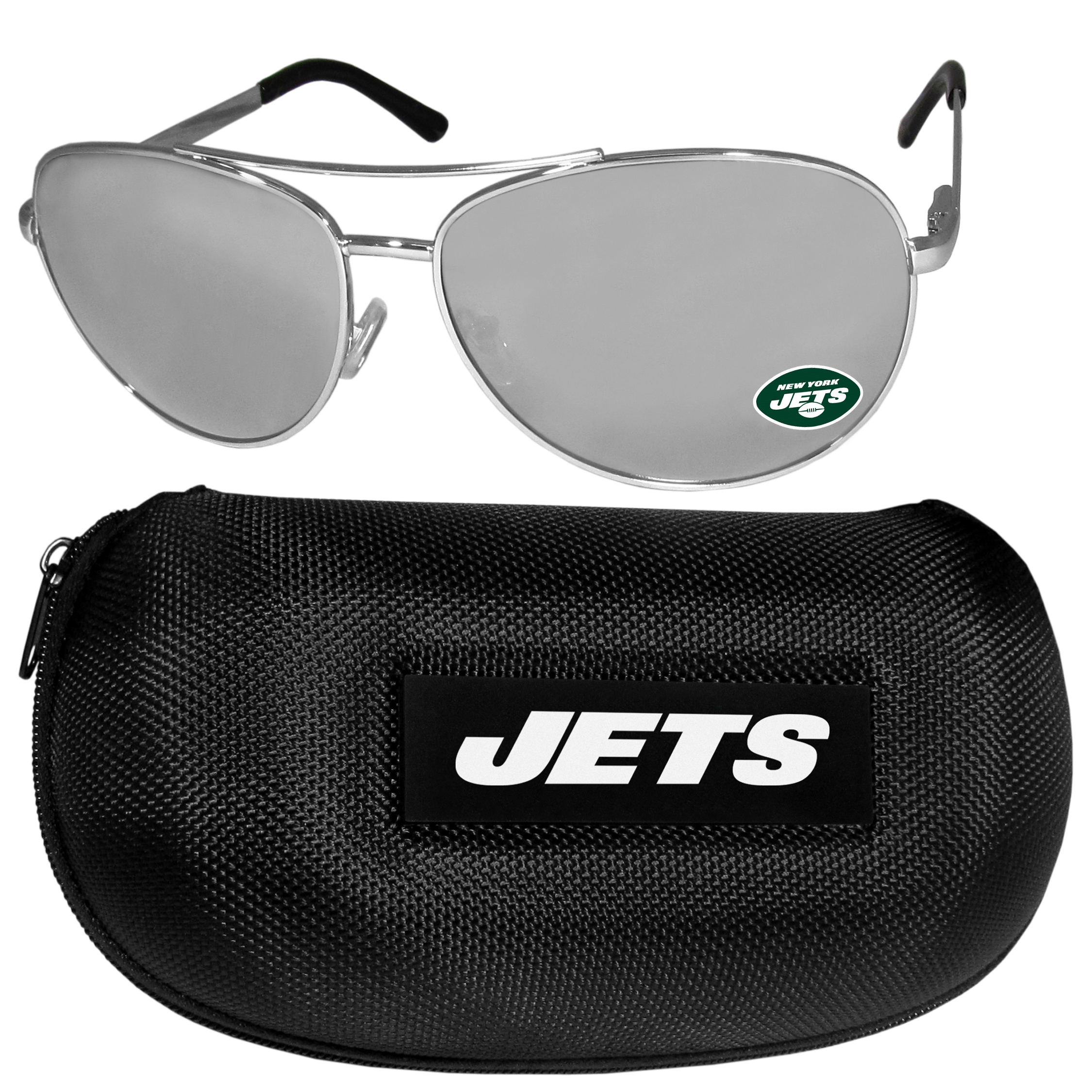 New York Jets Aviator Sunglasses and Zippered Carrying Case - Aviator sunglasses are truly an iconic retro fashion statement that never goes out-of-style. Our New York Jets  aviator sunglasses pair this classic look with your love of the game. The iridium coated lenses reduce glare while driving, boating, golfing and their 100% UVA/UVB rating provides you with the maximum UV protection for all your outdoor activities. A millennial favorite, these affordable designer frames are the perfect eyewear accessory for a sports fan that is looking for high-quality at an affordable price. The durable, flex hinged frames are tough enough for hiking and camping or if you prefer sun bathing by the pool or on the beach these shades will really stand the test of time. The sunglasses come with a hard shell zippered case which has a large team logo on the lid that will make even the most die-hard fan proud!