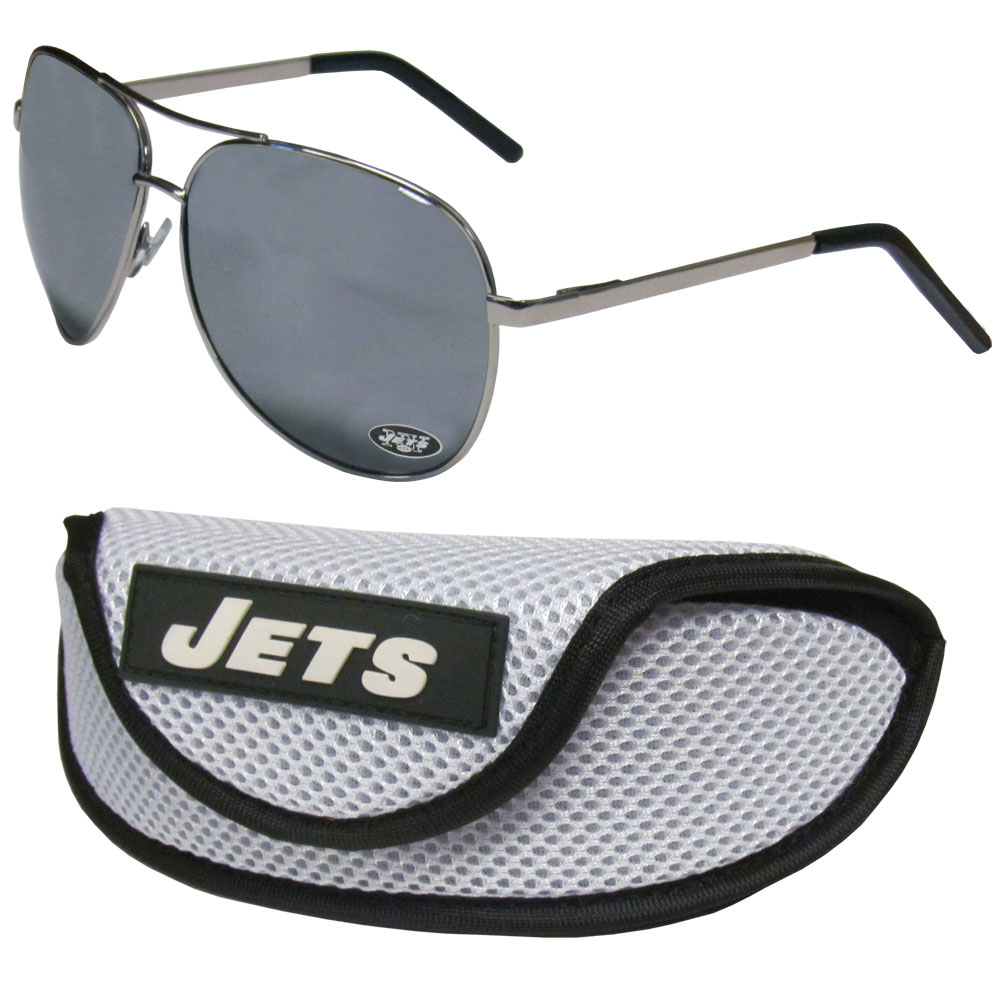 New York Jets Aviator Sunglasses and Sports Case - Aviator sunglasses are truly an iconic retro fashion statement that never goes out-of-style. Our New York Jets  aviator sunglasses pair this classic look with your love of the game. The iridium coated lenses reduce glare while driving, boating, golfing and their 100% UVA/UVB rating provides you with the maximum UV protection for all your outdoor activities. A millennial favorite, these affordable designer frames are the perfect eyewear accessory for a sports fan that is looking for high-quality at an affordable price. The durable, flex hinged frames are tough enough for hiking and camping or if you prefer sun bathing by the pool or on the beach these shades will really stand the test of time. The sunglasses come with a sporty case which has a large team logo on the lid that will make even the most die-hard fan proud!