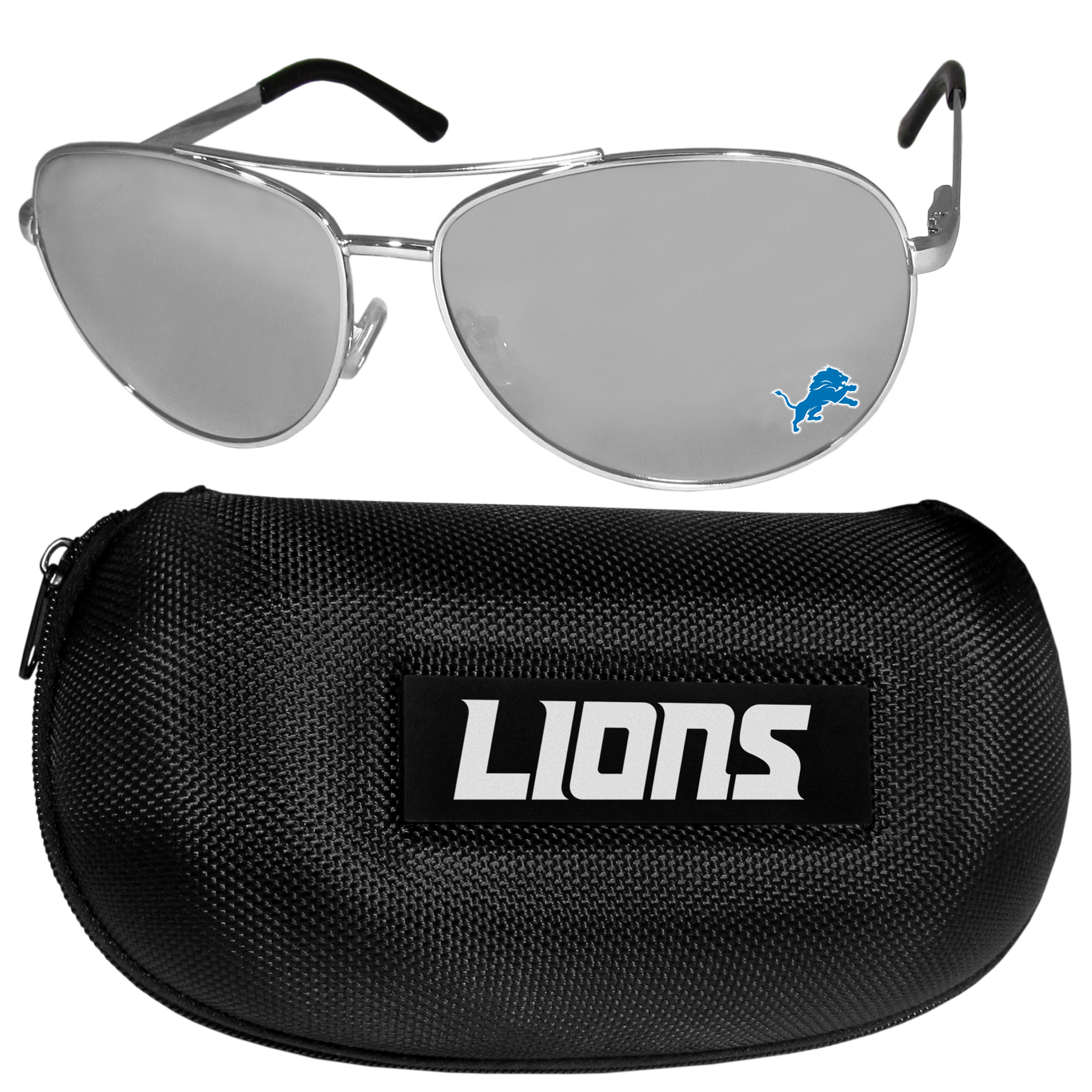 Detroit Lions Aviator Sunglasses and Zippered Carrying Case - Aviator sunglasses are truly an iconic retro fashion statement that never goes out-of-style. Our Detroit Lions  aviator sunglasses pair this classic look with your love of the game. The iridium coated lenses reduce glare while driving, boating, golfing and their 100% UVA/UVB rating provides you with the maximum UV protection for all your outdoor activities. A millennial favorite, these affordable designer frames are the perfect eyewear accessory for a sports fan that is looking for high-quality at an affordable price. The durable, flex hinged frames are tough enough for hiking and camping or if you prefer sun bathing by the pool or on the beach these shades will really stand the test of time. The sunglasses come with a hard shell zippered case which has a large team logo on the lid that will make even the most die-hard fan proud!