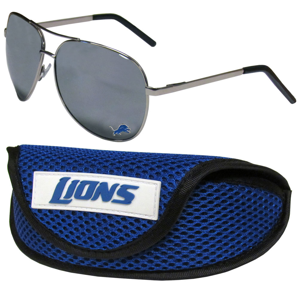 Detroit Lions Aviator Sunglasses and Sports Case - Aviator sunglasses are truly an iconic retro fashion statement that never goes out-of-style. Our Detroit Lions  aviator sunglasses pair this classic look with your love of the game. The iridium coated lenses reduce glare while driving, boating, golfing and their 100% UVA/UVB rating provides you with the maximum UV protection for all your outdoor activities. A millennial favorite, these affordable designer frames are the perfect eyewear accessory for a sports fan that is looking for high-quality at an affordable price. The durable, flex hinged frames are tough enough for hiking and camping or if you prefer sun bathing by the pool or on the beach these shades will really stand the test of time. The sunglasses come with a sporty case which has a large team logo on the lid that will make even the most die-hard fan proud!