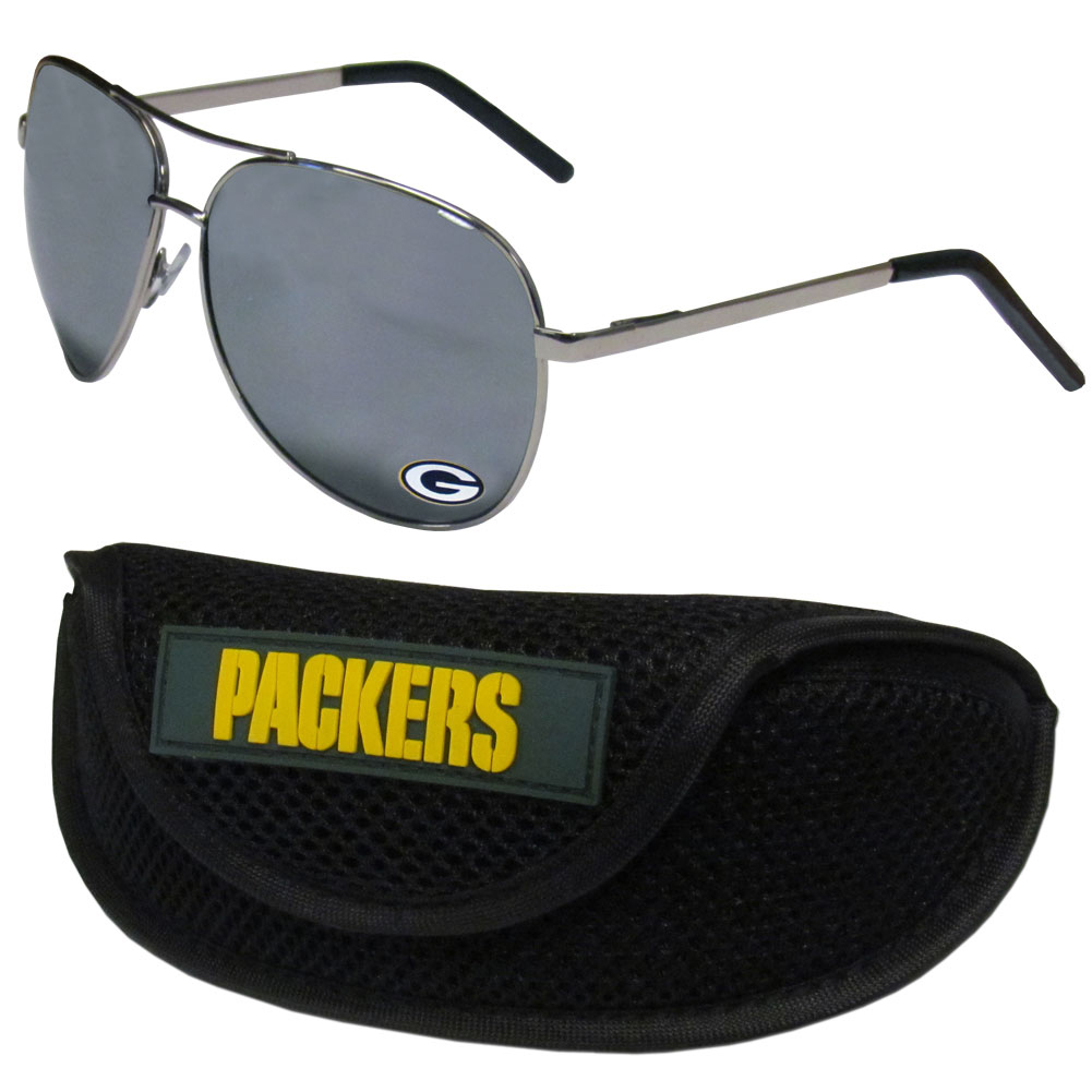 Green Bay Packers Aviator Sunglasses and Sports Case - Aviator sunglasses are truly an iconic retro fashion statement that never goes out-of-style. Our Green Bay Packers  aviator sunglasses pair this classic look with your love of the game. The iridium coated lenses reduce glare while driving, boating, golfing and their 100% UVA/UVB rating provides you with the maximum UV protection for all your outdoor activities. A millennial favorite, these affordable designer frames are the perfect eyewear accessory for a sports fan that is looking for high-quality at an affordable price. The durable, flex hinged frames are tough enough for hiking and camping or if you prefer sun bathing by the pool or on the beach these shades will really stand the test of time. The sunglasses come with a sporty case which has a large team logo on the lid that will make even the most die-hard fan proud!