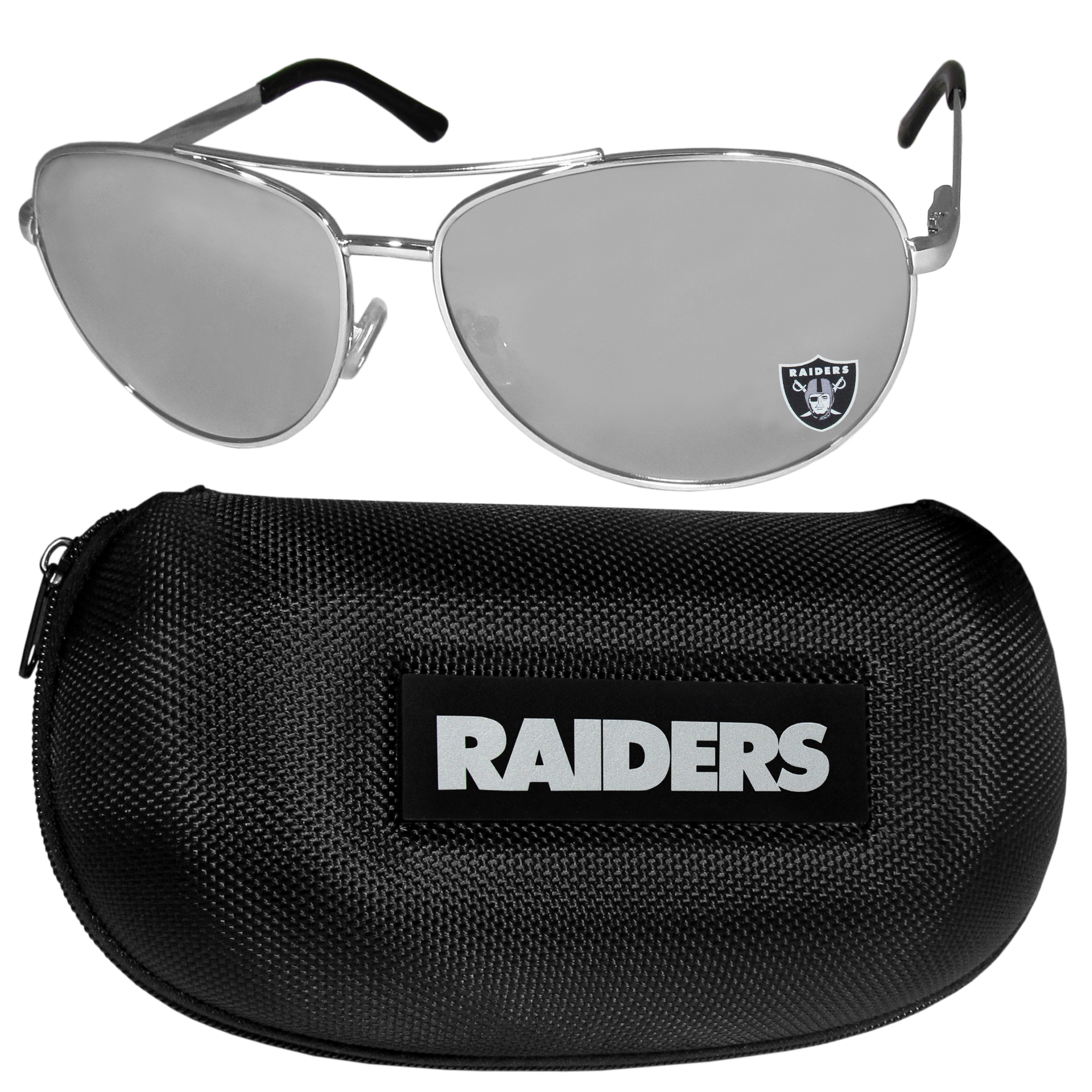 Oakland Raiders Aviator Sunglasses and Zippered Carrying Case - Aviator sunglasses are truly an iconic retro fashion statement that never goes out-of-style. Our Oakland Raiders  aviator sunglasses pair this classic look with your love of the game. The iridium coated lenses reduce glare while driving, boating, golfing and their 100% UVA/UVB rating provides you with the maximum UV protection for all your outdoor activities. A millennial favorite, these affordable designer frames are the perfect eyewear accessory for a sports fan that is looking for high-quality at an affordable price. The durable, flex hinged frames are tough enough for hiking and camping or if you prefer sun bathing by the pool or on the beach these shades will really stand the test of time. The sunglasses come with a hard shell zippered case which has a large team logo on the lid that will make even the most die-hard fan proud!