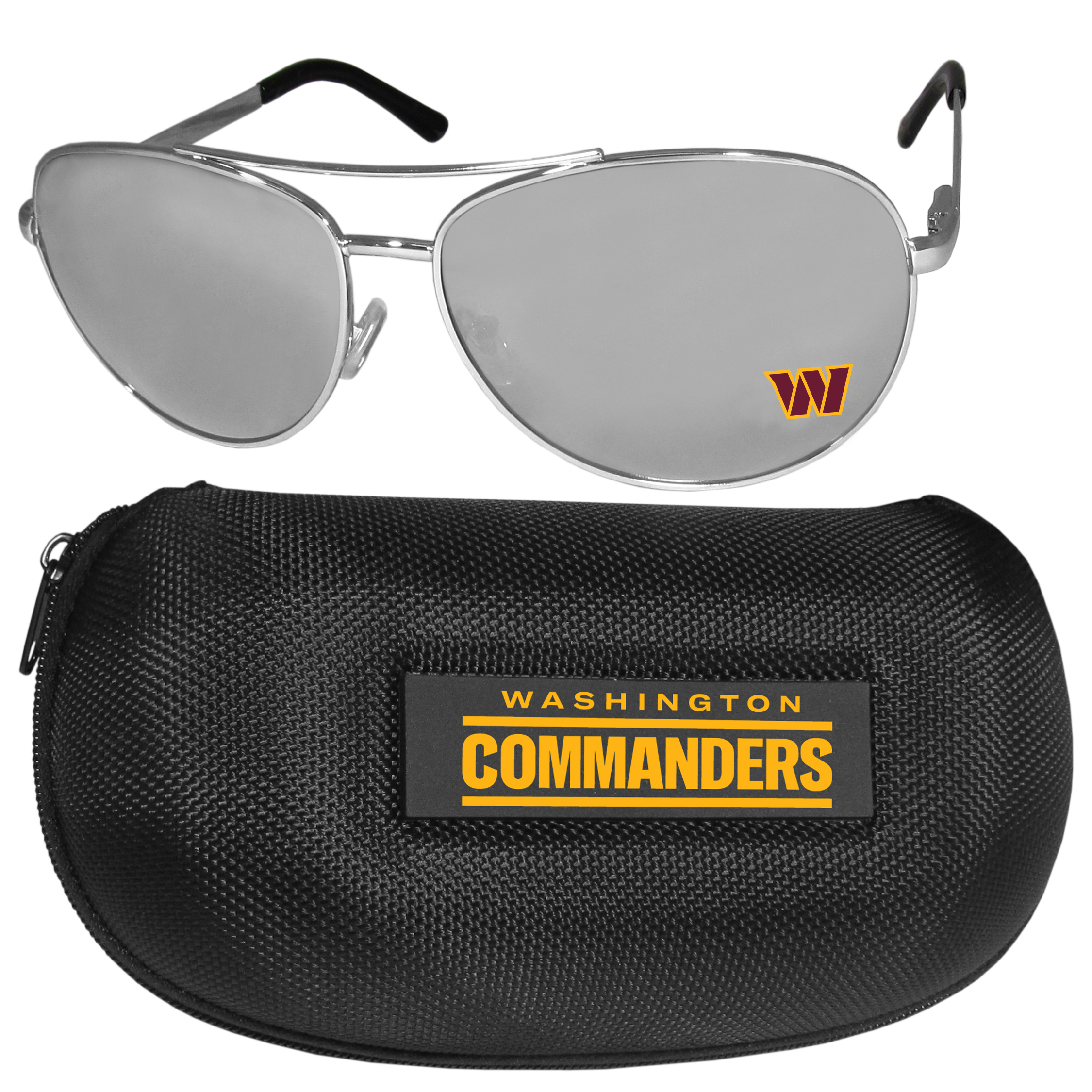 Washington Redskins Aviator Sunglasses and Zippered Carrying Case - Aviator sunglasses are truly an iconic retro fashion statement that never goes out-of-style. Our Washington Redskins  aviator sunglasses pair this classic look with your love of the game. The iridium coated lenses reduce glare while driving, boating, golfing and their 100% UVA/UVB rating provides you with the maximum UV protection for all your outdoor activities. A millennial favorite, these affordable designer frames are the perfect eyewear accessory for a sports fan that is looking for high-quality at an affordable price. The durable, flex hinged frames are tough enough for hiking and camping or if you prefer sun bathing by the pool or on the beach these shades will really stand the test of time. The sunglasses come with a hard shell zippered case which has a large team logo on the lid that will make even the most die-hard fan proud!