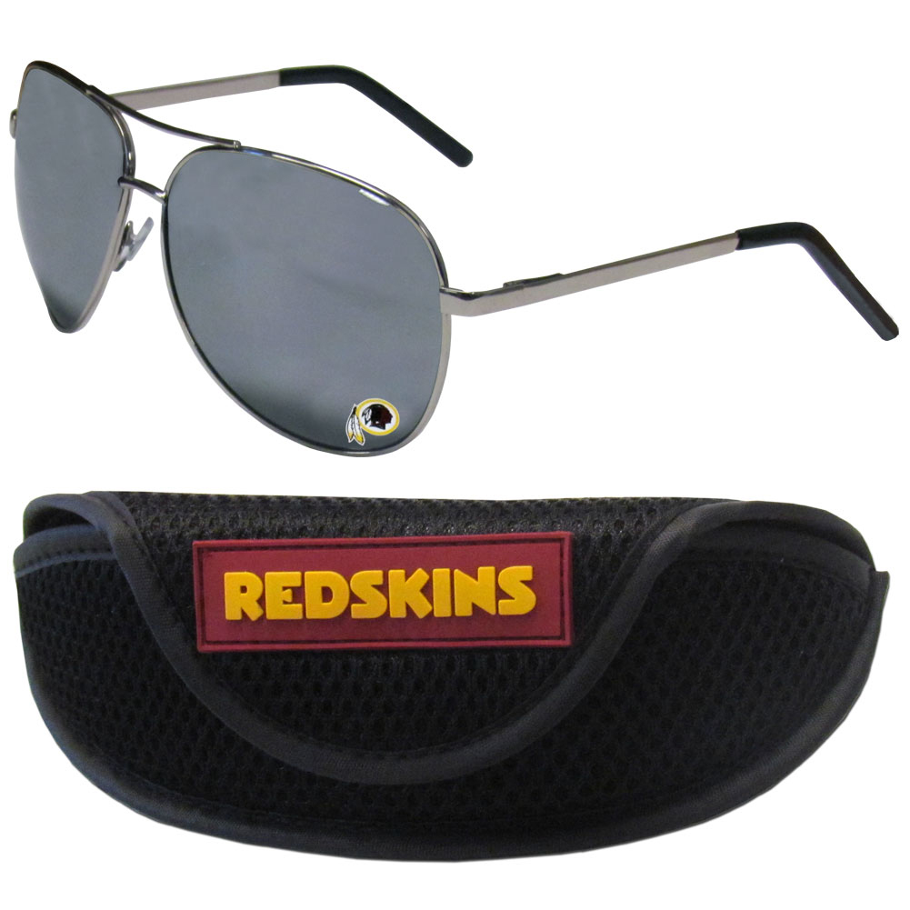 Washington Redskins Aviator Sunglasses and Sports Case - Aviator sunglasses are truly an iconic retro fashion statement that never goes out-of-style. Our Washington Redskins  aviator sunglasses pair this classic look with your love of the game. The iridium coated lenses reduce glare while driving, boating, golfing and their 100% UVA/UVB rating provides you with the maximum UV protection for all your outdoor activities. A millennial favorite, these affordable designer frames are the perfect eyewear accessory for a sports fan that is looking for high-quality at an affordable price. The durable, flex hinged frames are tough enough for hiking and camping or if you prefer sun bathing by the pool or on the beach these shades will really stand the test of time. The sunglasses come with a sporty case which has a large team logo on the lid that will make even the most die-hard fan proud!