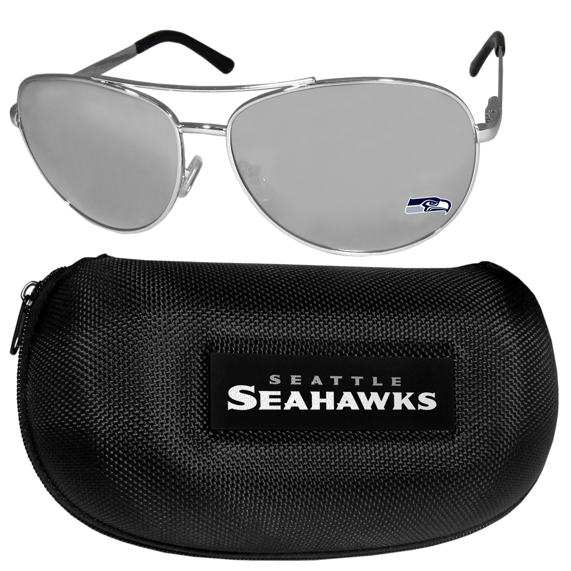 Seattle Seahawks Aviator Sunglasses and Zippered Carrying Case - Aviator sunglasses are truly an iconic retro fashion statement that never goes out-of-style. Our Seattle Seahawks  aviator sunglasses pair this classic look with your love of the game. The iridium coated lenses reduce glare while driving, boating, golfing and their 100% UVA/UVB rating provides you with the maximum UV protection for all your outdoor activities. A millennial favorite, these affordable designer frames are the perfect eyewear accessory for a sports fan that is looking for high-quality at an affordable price. The durable, flex hinged frames are tough enough for hiking and camping or if you prefer sun bathing by the pool or on the beach these shades will really stand the test of time. The sunglasses come with a hard shell zippered case which has a large team logo on the lid that will make even the most die-hard fan proud!