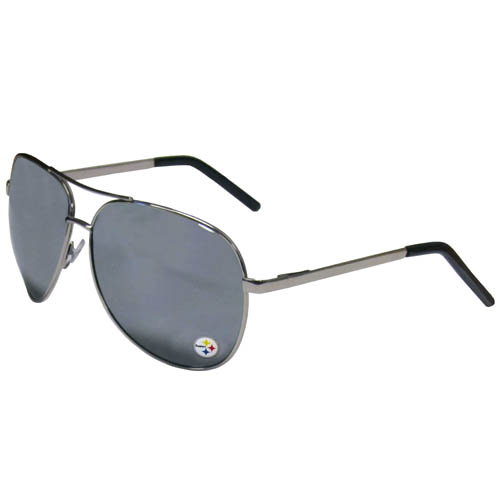 Pittsburgh Steelers Aviator Sunglasses - Officially licensed NFL Pittsburgh Steelers aviator sunglasses have the iconic aviator style with mirrored lenses and metal frames. The Pittsburgh Steelers Aviator Sunglasses feature a silk screened Pittsburgh Steelers logo in the corner of the lens. 100% UVA/UVB protection. Officially licensed NFL product Licensee: Siskiyou Buckle .com