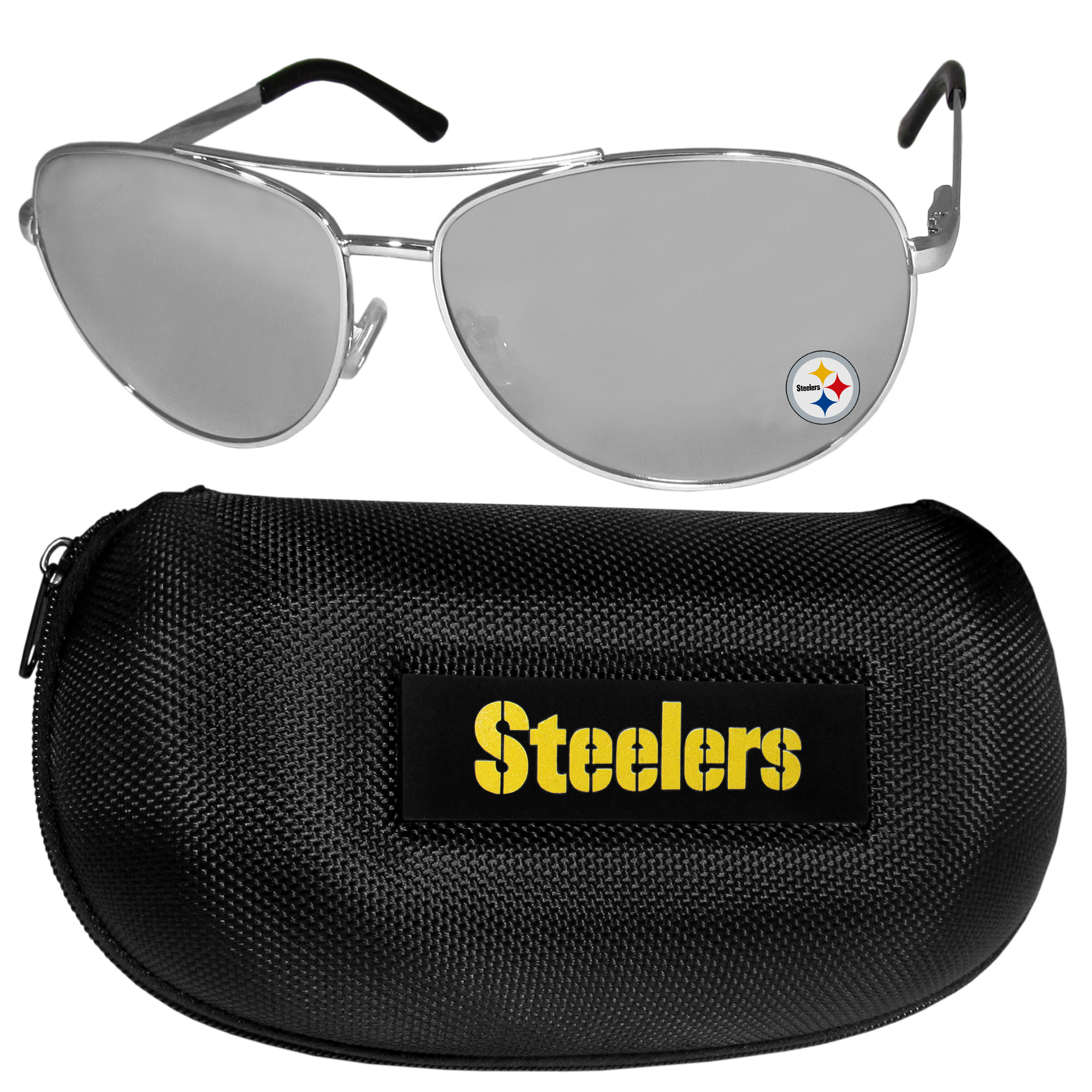 Pittsburgh Steelers Aviator Sunglasses and Zippered Carrying Case - Aviator sunglasses are truly an iconic retro fashion statement that never goes out-of-style. Our Pittsburgh Steelers  aviator sunglasses pair this classic look with your love of the game. The iridium coated lenses reduce glare while driving, boating, golfing and their 100% UVA/UVB rating provides you with the maximum UV protection for all your outdoor activities. A millennial favorite, these affordable designer frames are the perfect eyewear accessory for a sports fan that is looking for high-quality at an affordable price. The durable, flex hinged frames are tough enough for hiking and camping or if you prefer sun bathing by the pool or on the beach these shades will really stand the test of time. The sunglasses come with a hard shell zippered case which has a large team logo on the lid that will make even the most die-hard fan proud!