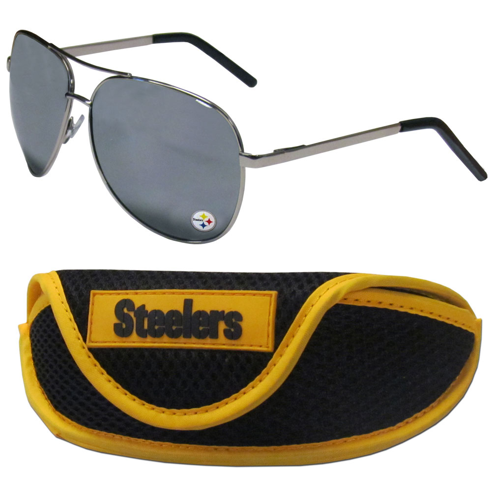 Pittsburgh Steelers Aviator Sunglasses and Sports Case - Aviator sunglasses are truly an iconic retro fashion statement that never goes out-of-style. Our Pittsburgh Steelers  aviator sunglasses pair this classic look with your love of the game. The iridium coated lenses reduce glare while driving, boating, golfing and their 100% UVA/UVB rating provides you with the maximum UV protection for all your outdoor activities. A millennial favorite, these affordable designer frames are the perfect eyewear accessory for a sports fan that is looking for high-quality at an affordable price. The durable, flex hinged frames are tough enough for hiking and camping or if you prefer sun bathing by the pool or on the beach these shades will really stand the test of time. The sunglasses come with a sporty case which has a large team logo on the lid that will make even the most die-hard fan proud!