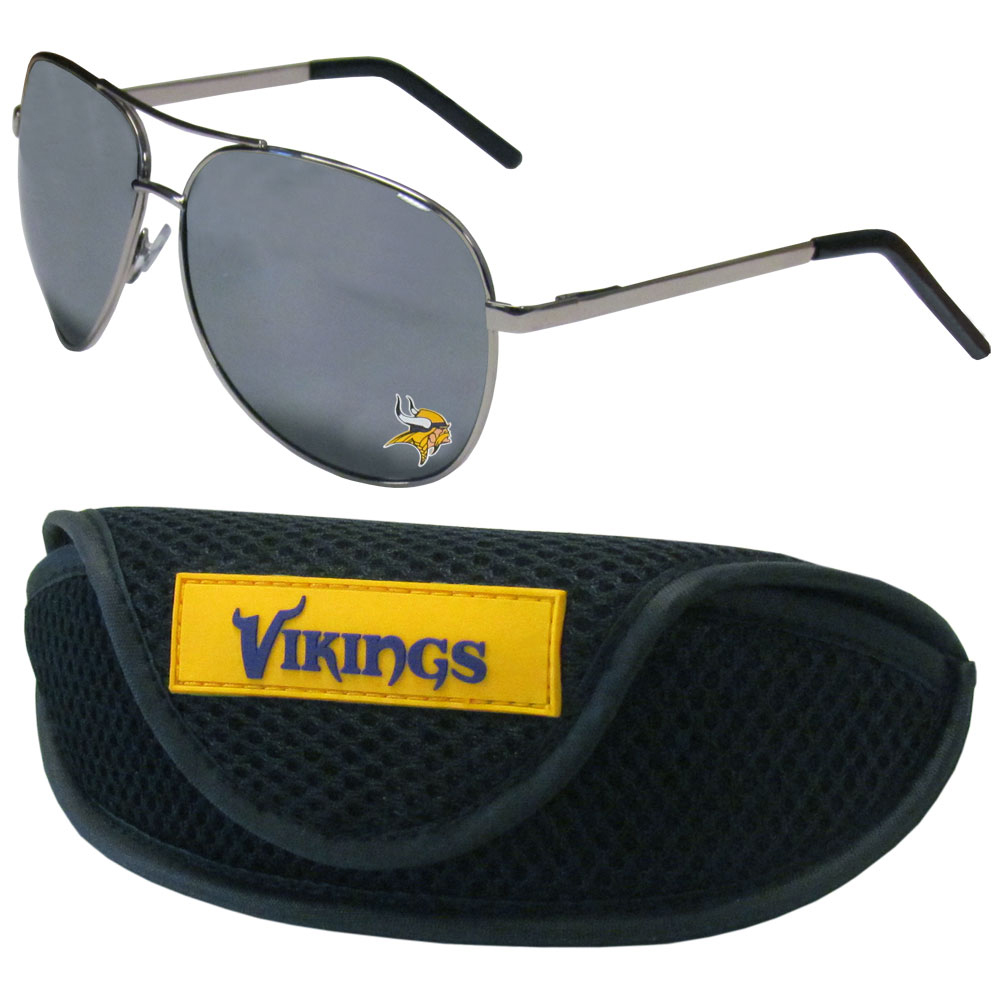 Minnesota Vikings Aviator Sunglasses and Sports Case - Aviator sunglasses are truly an iconic retro fashion statement that never goes out-of-style. Our Minnesota Vikings  aviator sunglasses pair this classic look with your love of the game. The iridium coated lenses reduce glare while driving, boating, golfing and their 100% UVA/UVB rating provides you with the maximum UV protection for all your outdoor activities. A millennial favorite, these affordable designer frames are the perfect eyewear accessory for a sports fan that is looking for high-quality at an affordable price. The durable, flex hinged frames are tough enough for hiking and camping or if you prefer sun bathing by the pool or on the beach these shades will really stand the test of time. The sunglasses come with a sporty case which has a large team logo on the lid that will make even the most die-hard fan proud!