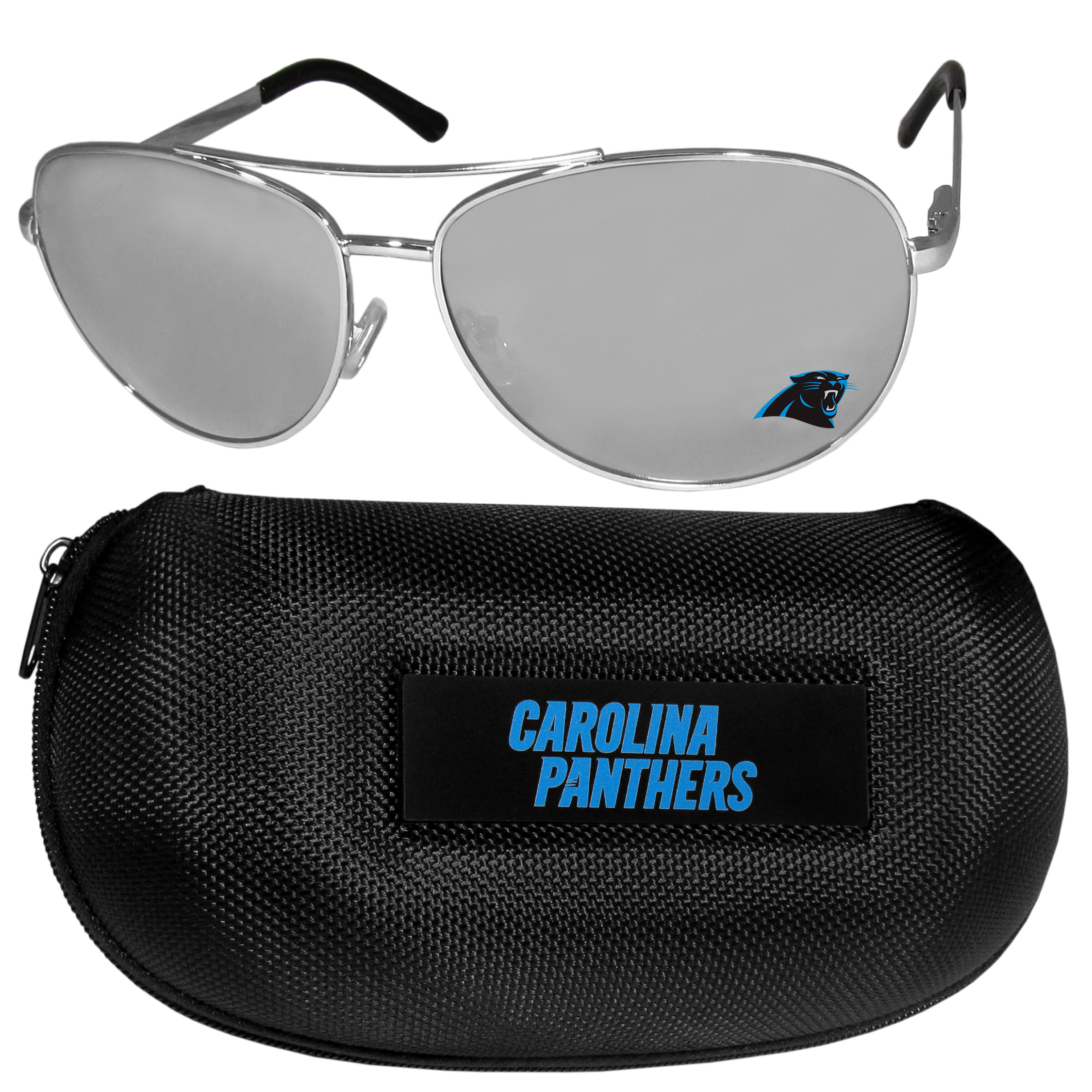 Carolina Panthers Aviator Sunglasses and Zippered Carrying Case - Aviator sunglasses are truly an iconic retro fashion statement that never goes out-of-style. Our Carolina Panthers  aviator sunglasses pair this classic look with your love of the game. The iridium coated lenses reduce glare while driving, boating, golfing and their 100% UVA/UVB rating provides you with the maximum UV protection for all your outdoor activities. A millennial favorite, these affordable designer frames are the perfect eyewear accessory for a sports fan that is looking for high-quality at an affordable price. The durable, flex hinged frames are tough enough for hiking and camping or if you prefer sun bathing by the pool or on the beach these shades will really stand the test of time. The sunglasses come with a hard shell zippered case which has a large team logo on the lid that will make even the most die-hard fan proud!