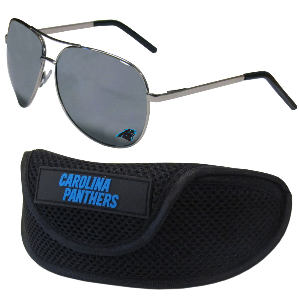 Carolina Panthers Aviator Sunglasses and Sports Case - Aviator sunglasses are truly an iconic retro fashion statement that never goes out-of-style. Our Carolina Panthers  aviator sunglasses pair this classic look with your love of the game. The iridium coated lenses reduce glare while driving, boating, golfing and their 100% UVA/UVB rating provides you with the maximum UV protection for all your outdoor activities. A millennial favorite, these affordable designer frames are the perfect eyewear accessory for a sports fan that is looking for high-quality at an affordable price. The durable, flex hinged frames are tough enough for hiking and camping or if you prefer sun bathing by the pool or on the beach these shades will really stand the test of time. The sunglasses come with a sporty case which has a large team logo on the lid that will make even the most die-hard fan proud!