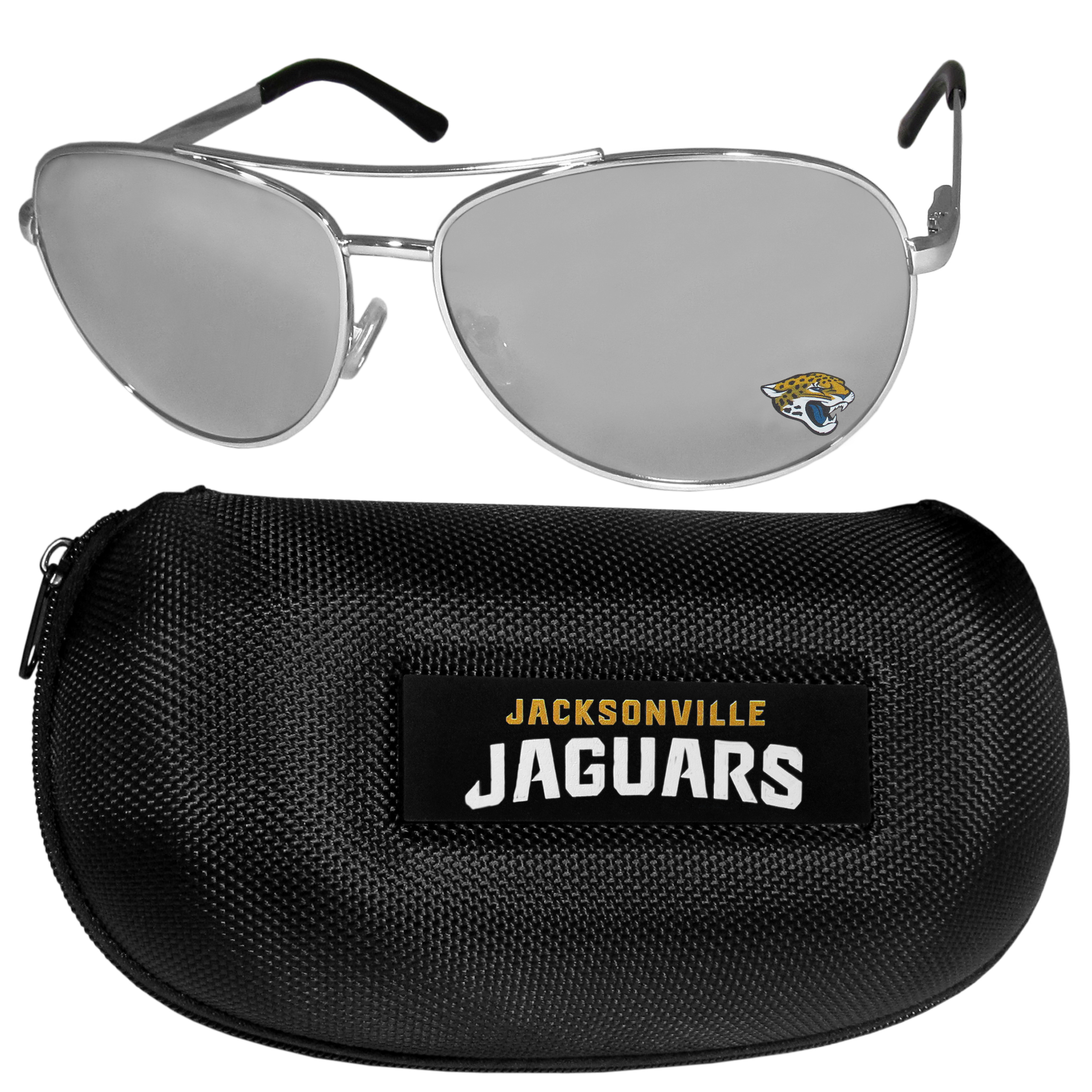 Jacksonville Jaguars Aviator Sunglasses and Zippered Carrying Case - Aviator sunglasses are truly an iconic retro fashion statement that never goes out-of-style. Our Jacksonville Jaguars  aviator sunglasses pair this classic look with your love of the game. The iridium coated lenses reduce glare while driving, boating, golfing and their 100% UVA/UVB rating provides you with the maximum UV protection for all your outdoor activities. A millennial favorite, these affordable designer frames are the perfect eyewear accessory for a sports fan that is looking for high-quality at an affordable price. The durable, flex hinged frames are tough enough for hiking and camping or if you prefer sun bathing by the pool or on the beach these shades will really stand the test of time. The sunglasses come with a hard shell zippered case which has a large team logo on the lid that will make even the most die-hard fan proud!