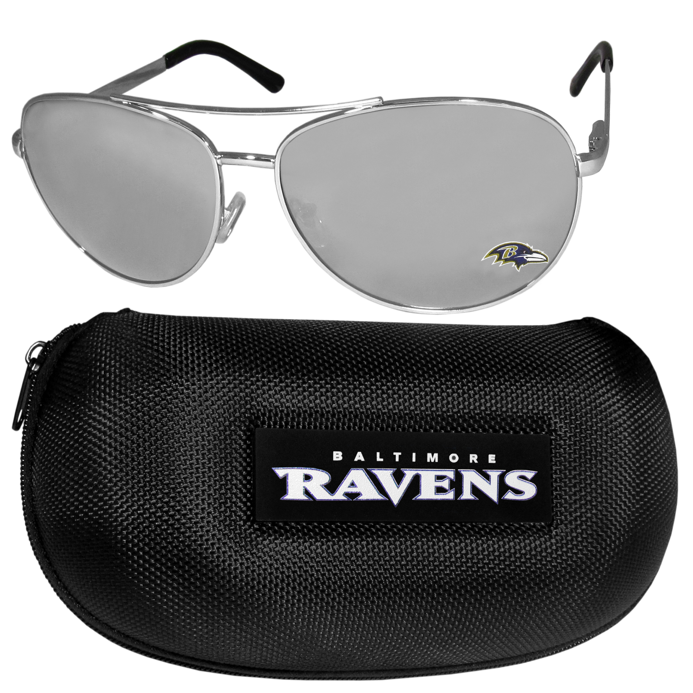 Baltimore Ravens Aviator Sunglasses and Zippered Carrying Case - Aviator sunglasses are truly an iconic retro fashion statement that never goes out-of-style. Our Baltimore Ravens  aviator sunglasses pair this classic look with your love of the game. The iridium coated lenses reduce glare while driving, boating, golfing and their 100% UVA/UVB rating provides you with the maximum UV protection for all your outdoor activities. A millennial favorite, these affordable designer frames are the perfect eyewear accessory for a sports fan that is looking for high-quality at an affordable price. The durable, flex hinged frames are tough enough for hiking and camping or if you prefer sun bathing by the pool or on the beach these shades will really stand the test of time. The sunglasses come with a hard shell zippered case which has a large team logo on the lid that will make even the most die-hard fan proud!