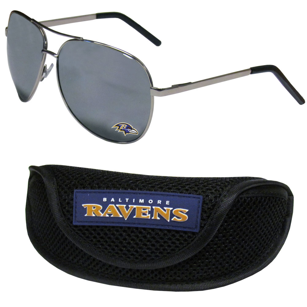 Baltimore Ravens Aviator Sunglasses and Sports Case - Aviator sunglasses are truly an iconic retro fashion statement that never goes out-of-style. Our Baltimore Ravens  aviator sunglasses pair this classic look with your love of the game. The iridium coated lenses reduce glare while driving, boating, golfing and their 100% UVA/UVB rating provides you with the maximum UV protection for all your outdoor activities. A millennial favorite, these affordable designer frames are the perfect eyewear accessory for a sports fan that is looking for high-quality at an affordable price. The durable, flex hinged frames are tough enough for hiking and camping or if you prefer sun bathing by the pool or on the beach these shades will really stand the test of time. The sunglasses come with a sporty case which has a large team logo on the lid that will make even the most die-hard fan proud!