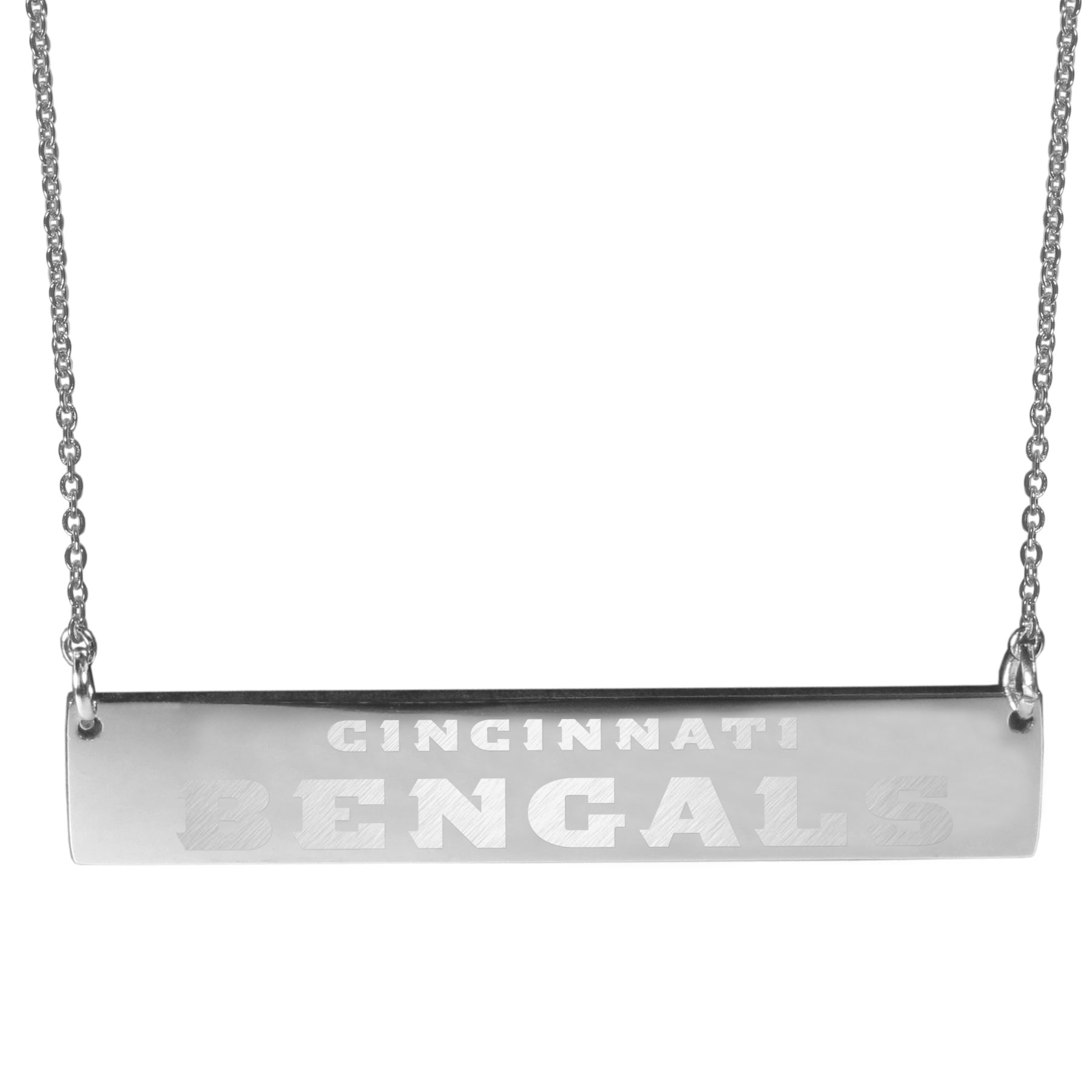 Cincinnati Bengals Bar Necklace - Simply beautiful Cincinnati Bengals bar necklace on a 20 inch link chain with 2 inch adjustable extender. This light-weight bar necklace has a stylish silver colored finish with the team name expertly etched on the 1.5 inch bar. Every female  fan will enjoy this contempory fashion accessory.