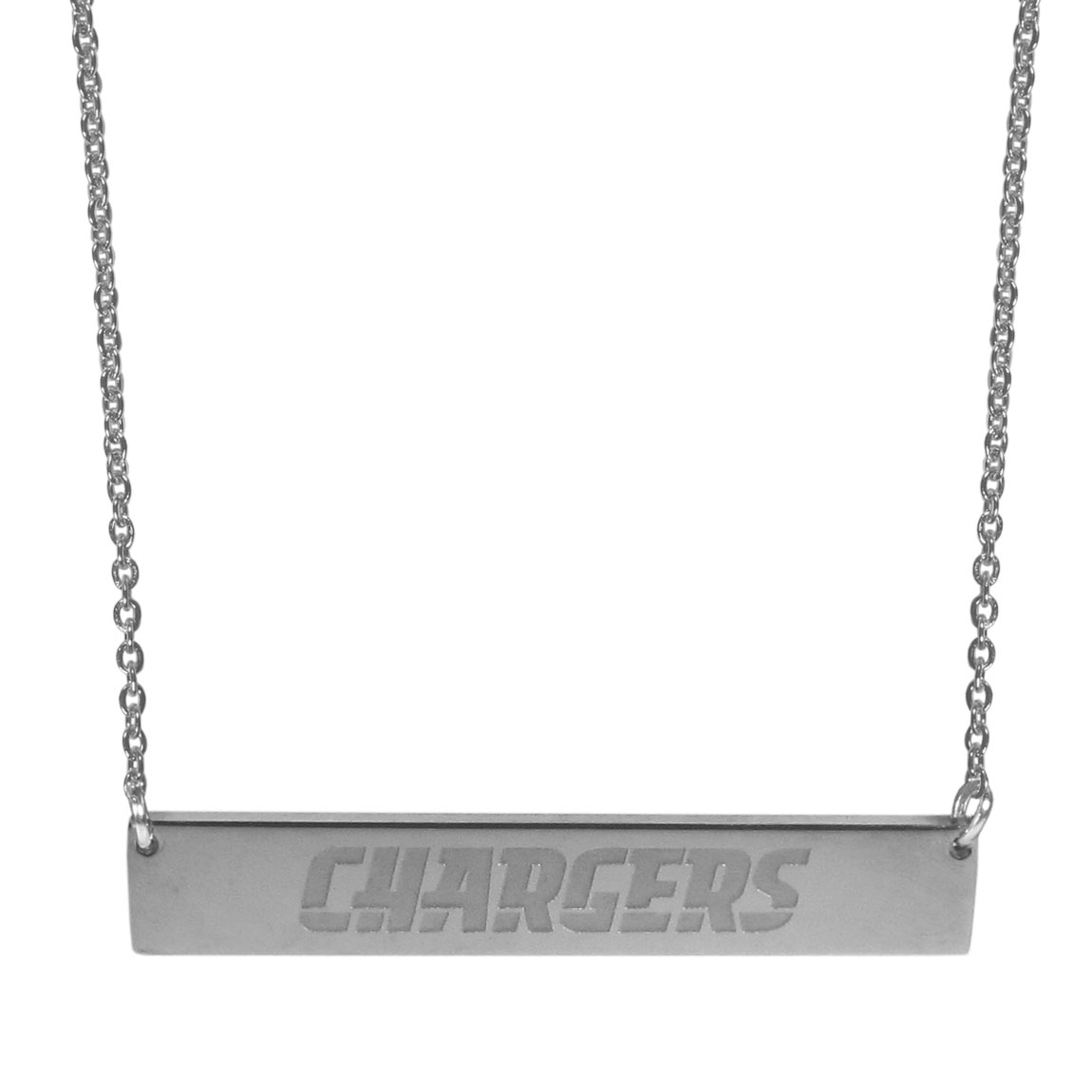 Los Angeles Chargers Bar Necklace - Simply beautiful Los Angeles Chargers bar necklace on a 20 inch link chain with 2 inch adjustable extender. This light-weight bar necklace has a stylish silver colored finish with the team name expertly etched on the 1.5 inch bar. Every female  fan will enjoy this contempory fashion accessory.