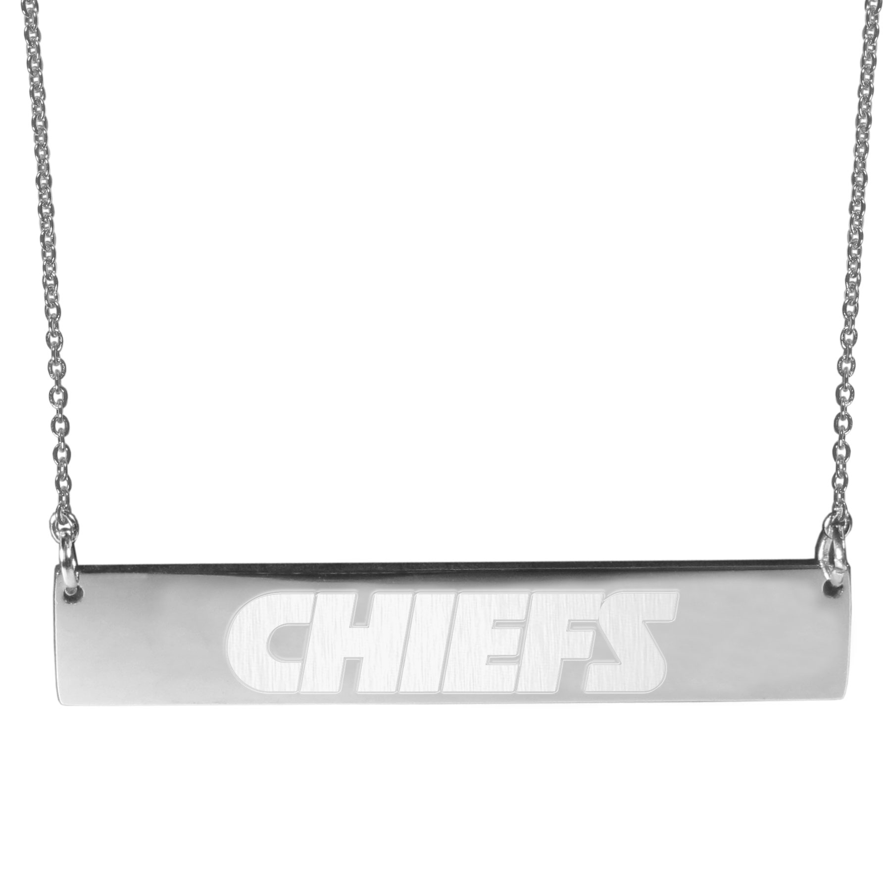 Kansas City Chiefs Bar Necklace - Simply beautiful Kansas City Chiefs bar necklace on a 20 inch link chain with 2 inch adjustable extender. This light-weight bar necklace has a stylish silver colored finish with the team name expertly etched on the 1.5 inch bar. Every female  fan will enjoy this contempory fashion accessory.