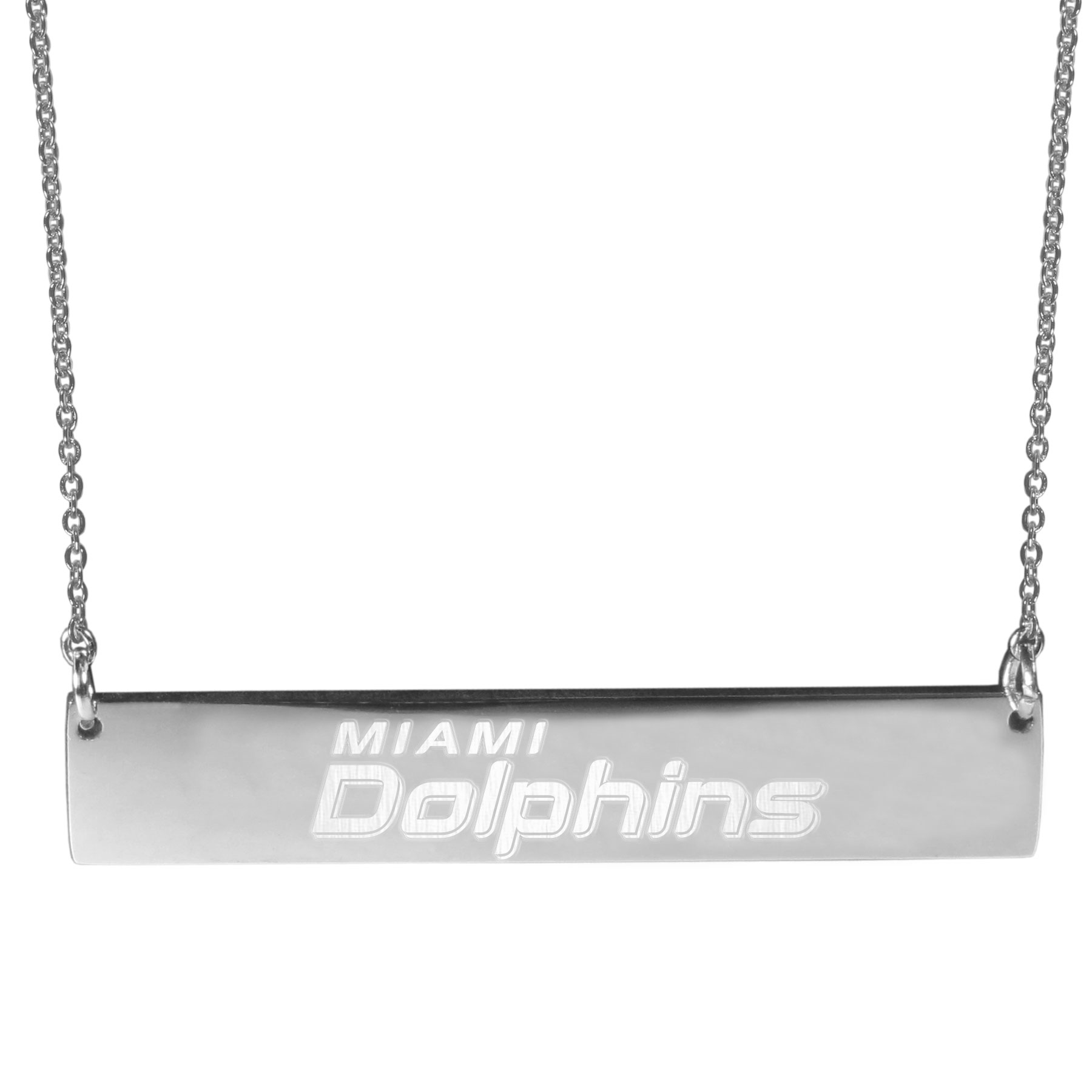 Miami Dolphins Bar Necklace - Simply beautiful Miami Dolphins bar necklace on a 20 inch link chain with 2 inch adjustable extender. This light-weight bar necklace has a stylish silver colored finish with the team name expertly etched on the 1.5 inch bar. Every female  fan will enjoy this contempory fashion accessory.