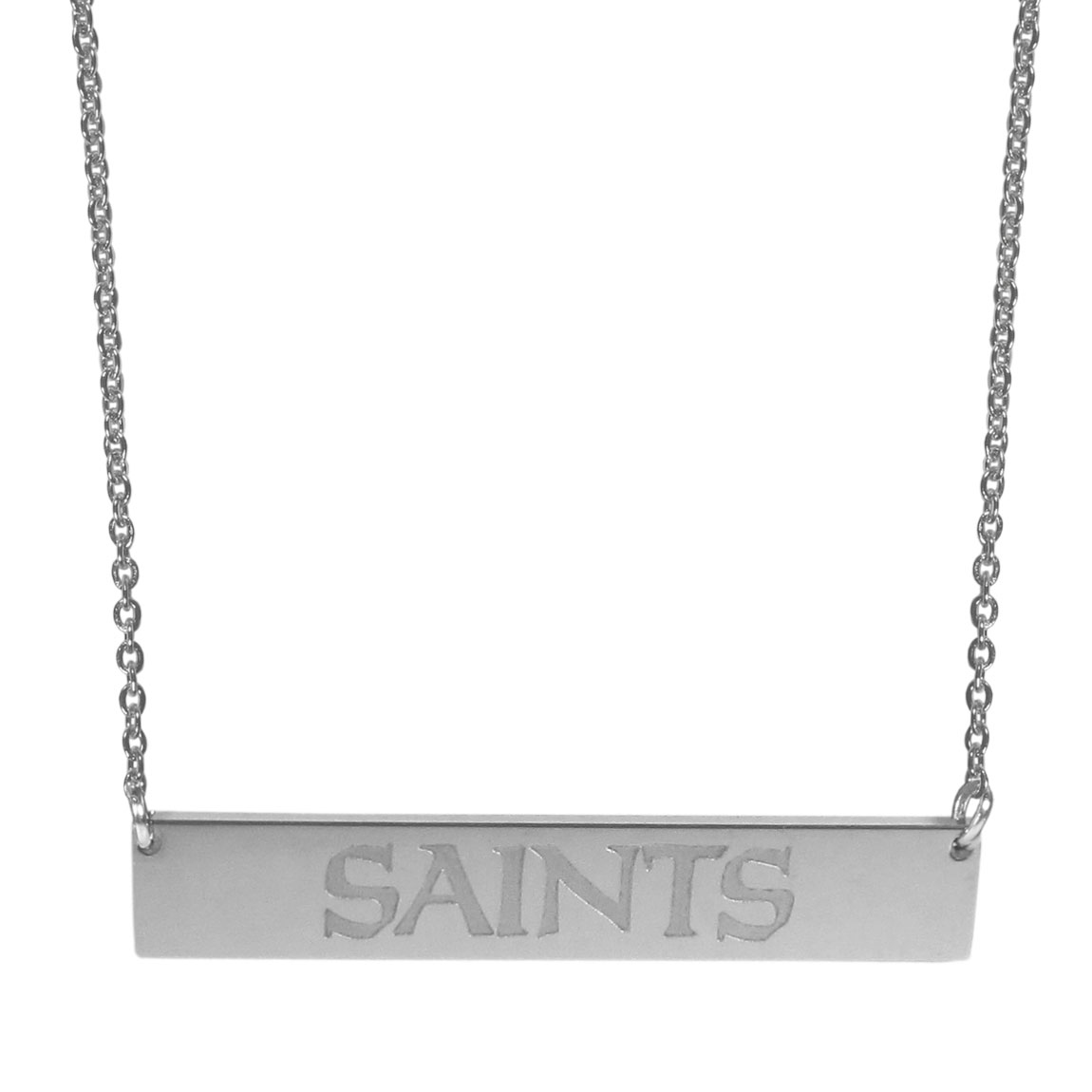 New Orleans Saints Bar Necklace - Simply beautiful New Orleans Saints bar necklace on a 20 inch link chain with 2 inch adjustable extender. This light-weight bar necklace has a stylish silver colored finish with the team name expertly etched on the 1.5 inch bar. Every female  fan will enjoy this contempory fashion accessory.
