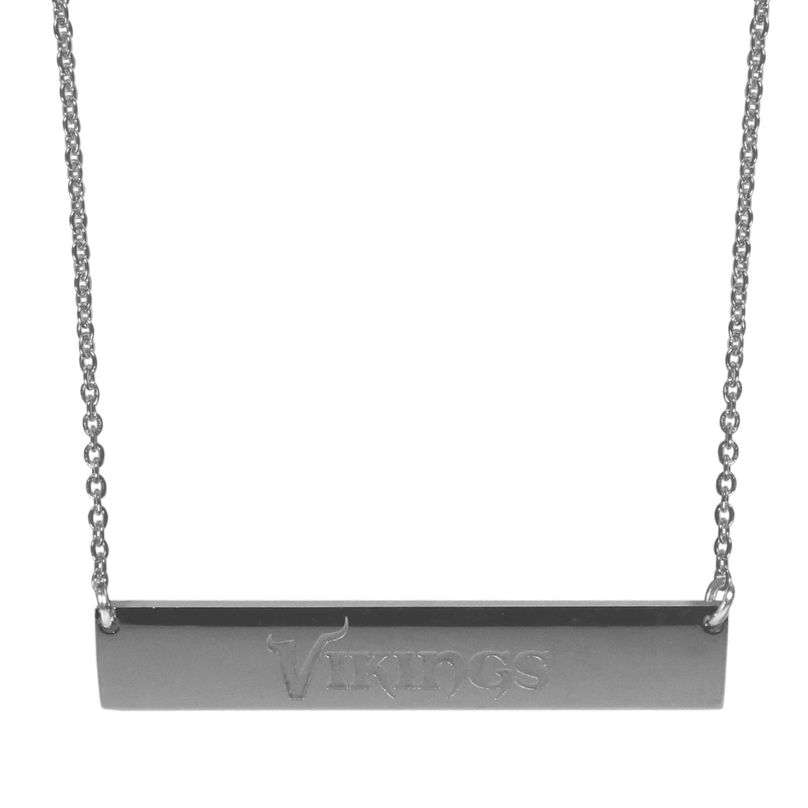 Minnesota Vikings Bar Necklace - Simply beautiful Minnesota Vikings bar necklace on a 20 inch link chain with 2 inch adjustable extender. This light-weight bar necklace has a stylish silver colored finish with the team name expertly etched on the 1.5 inch bar. Every female  fan will enjoy this contempory fashion accessory.
