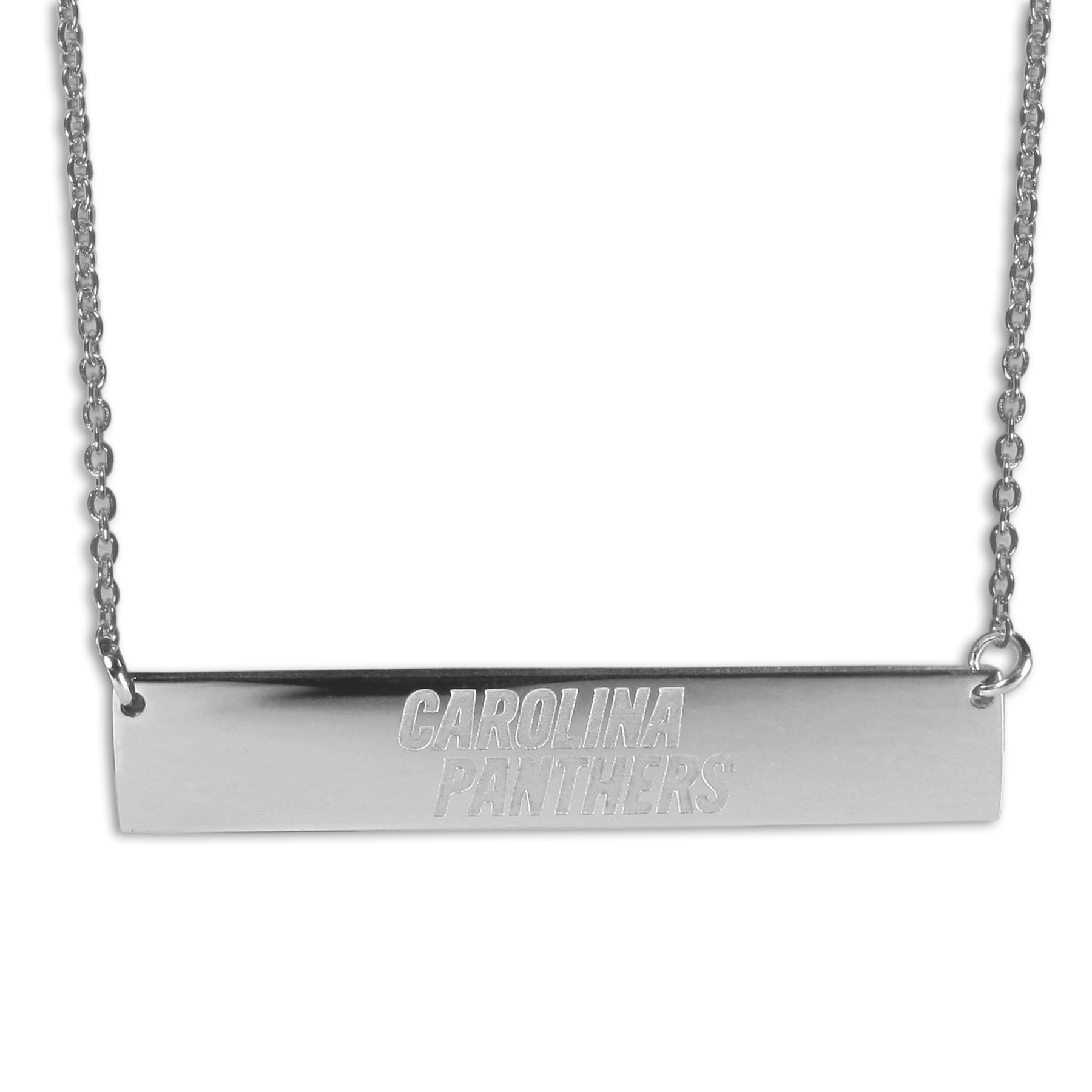 Carolina Panthers Bar Necklace - Simply beautiful Carolina Panthers bar necklace on a 20 inch link chain with 2 inch adjustable extender. This light-weight bar necklace has a stylish silver colored finish with the team name expertly etched on the 1.5 inch bar. Every female  fan will enjoy this contempory fashion accessory.