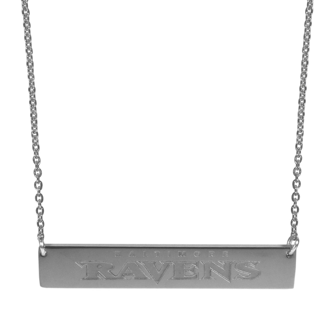 Baltimore Ravens Bar Necklace - Simply beautiful Baltimore Ravens bar necklace on a 20 inch link chain with 2 inch adjustable extender. This light-weight bar necklace has a stylish silver colored finish with the team name expertly etched on the 1.5 inch bar. Every female  fan will enjoy this contempory fashion accessory.