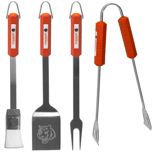 Cincinnati Bengals NFL BBQ Set  - The Cincinnati Bengals NFL BBQ Set  includes a Spatula, Tongs, Fork, and Basting Brush with the Cincinnati Bengals emblem on the colored handles of this 4 piece set. Topping it off with the Cincinnati Bengals logo laser etched on the blade of the spatula.  Officially licensed NFL product Licensee: Siskiyou Buckle .com