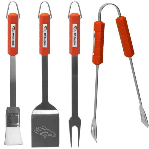 Denver Broncos NFL BBQ Set  - The Denver Broncos NFL BBQ Set includes a Spatula, Tongs, Fork, and Basting Brush with the Denver Broncos emblem on the colored handles of this 4 piece set. Topping it off with the Denver Broncos logo laser etched on the blade of the spatula. Officially licensed NFL product Licensee: Siskiyou Buckle Thank you for visiting CrazedOutSports.com