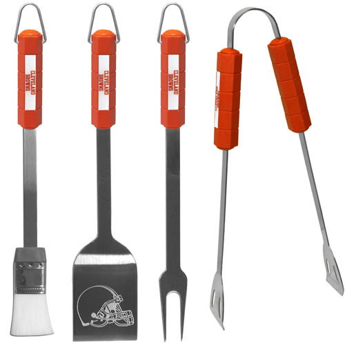 Cleveland Browns NFL BBQ Set  - The Cleveland Browns NFL BBQ Set includes a Spatula, Tongs, Fork, and Basting Brush with the Cleveland Browns emblem on the colored handles of this 4 piece set. Topping it off with the Cleveland Browns logo laser etched on the blade of the spatula. Officially licensed NFL product Licensee: Siskiyou Buckle Thank you for visiting CrazedOutSports.com