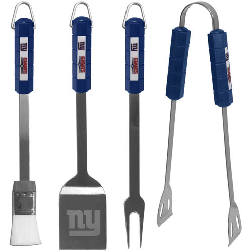 NFL BBQ Set - New York Giants - The NFL BBQ set includes Spatula, Tongs, Fork, and Basting Brush with the team emblem on the colored handles of this 4 piece set. Topping it off with the logo laser etched on the blade of the spatula. Officially licensed NFL product Licensee: Siskiyou Buckle Thank you for visiting CrazedOutSports.com