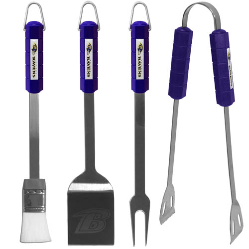 NFL BBQ Set - Baltimore Ravens - The NFL BBQ set includes Spatula, Tongs, Fork, and Basting Brush with the team emblem on the colored handles of this 4 piece set. Topping it off with the logo laser etched on the blade of the spatula.  Officially licensed NFL product Licensee: Siskiyou Buckle Thank you for visiting CrazedOutSports.com
