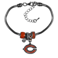 Chicago Bears Euro Bead Bracelet - These Chicago Bears Euro Bead Bracelets have combined the wildly popular Euro style beads with your favorite team. The 7.5 inch snake chain with 2 inch extender features 4 Euro beads with enameled Chicago Bears colors and rhinestone accents with a high polish, plus a nickel free Chicago Bears charm. Perfect way to show off your Chicago Bears pride.