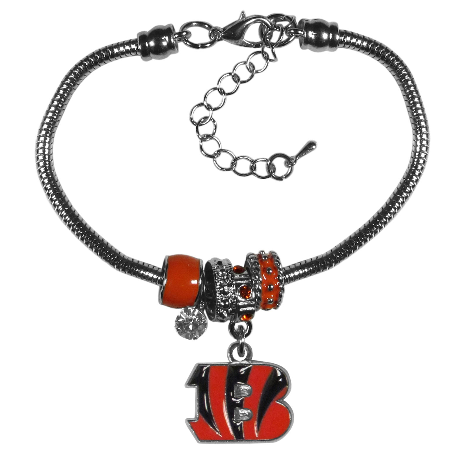 Cincinnati Bengals Euro Bead Bracelet - This must-have bracelet is fashioned with the trendy euro style beads and an eye catching team charm to create a designer inspired Cincinnati Bengals bead bracelet. This is a true statement piece with 4 euro beads, a rhinestone accent and stylish team charm beaded onto a 7.5 inch snake chain with a 2 inch extender for an adjustable fit. This contemporary look is perfect for game day but chic enough for everyday.