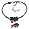 Buffalo Bills Euro Bead Bracelet - This must-have Buffalo Bills Euro Bead Bracelet is fashioned with the trendy euro style beads and an eye catching Buffalo Bills charm to create a designer inspired Buffalo Bills euro bead bracelet. This is a true statement piece with 4 euro beads, a rhinestone accent and stylish Buffalo Bills charm beaded onto a 7.5 inch snake chain with a 2 inch extender for an adjustable fit. This contemporary look is perfect for game day but chic enough for everyday.
