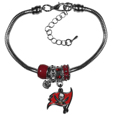 Tampa Bay Buccaneers Euro Bead Bracelet - This must-have Tampa Bay Buccaneers Euro Bead Bracelet is fashioned with the trendy euro style beads and an eye catching Tampa Bay Buccaneers charm to create a designer inspired Tampa Bay Buccaneers euro bead bracelet. This is a true statement piece with 4 euro beads, a rhinestone accent and stylish Tampa Bay Buccaneers charm beaded onto a 7.5 inch snake chain with a 2 inch extender for an adjustable fit. This contemporary look is perfect for game day but chic enough for everyday.