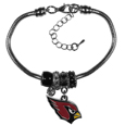 Arizona Cardinals Euro Bead Bracelet - This must-have Arizona Cardinals Euro Bead Bracelet is fashioned with the trendy euro style beads and an eye catching Arizona Cardinals charm to create a designer inspired Arizona Cardinals eoro bead bracelet. This is a true statement piece with 4 euro beads, a rhinestone accent and stylish Arizona Cardinals charm beaded onto a 7.5 inch snake chain with a 2 inch extender for an adjustable fit. This contemporary look is perfect for game day but chic enough for everyday.