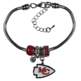 Kansas City Chiefs Euro Bead Bracelet - These Kansas City Chiefs Euro Bead Bracelets have combined the wildly popular Euro style beads with your favorite team. The 7.5 inch snake chain with 2 inch extender features 4 Euro beads with enameled Kansas City Chiefs colors and rhinestone accents with a high polish, plus a nickel free Kansas City Chiefs charm. Perfect way to show off your Kansas City Chiefs pride.