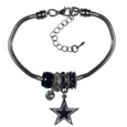Dallas Cowboys Euro Bead Bracelet - These Dallas Cowboys Euro Bead Bracelets have combined the wildly popular Euro style beads with your favorite team. The 7.5 inch snake chain with 2 inch extender features 4 Euro beads with enameled Dallas Cowboys colors and rhinestone accents with a high polish, plus a nickel free Dallas Cowboys charm. Perfect way to show off your Dallas Cowboys pride.