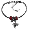 Atlanta Falcons Euro Bead Bracelet - This must-have Atlanta Falcons Euro Bead Bracelet is fashioned with the trendy euro style beads and an eye catching Atlanta Falcons charm to create a designer inspired Atlanta Falcons euro bead bracelet. This is a true statement piece with 4 euro beads, a rhinestone accent and stylish Atlanta Falcons charm beaded onto a 7.5 inch snake chain with a 2 inch extender for an adjustable fit. This contemporary look is perfect for game day but chic enough for everyday.