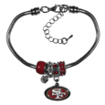 San Francisco 49ers Euro Bead Bracelet - We have combined the wildly popular Euro style beads with your favorite team to create this San Francisco 49ers euro bead bracelet. The 7.5 inch snake chain with 2 inch extender features 4 Euro beads with enameled San Francisco 49ers colors and rhinestone accents with a high polish, plus a nickel San Francisco 49ers free charm. Perfect way to show off your San Francisco 49ers pride.