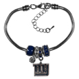 New York Giants Euro Bead Bracelet - We have combined the wildly popular Euro style beads with your favorite team to create this New York Giants euro bead bracelet. The 7.5 inch snake chain with 2 inch extender features 4 Euro beads with enameled New York Giants colors and rhinestone accents with a high polish, plus a nickel free New York Giants charm. Perfect way to show off your New York Giants pride.