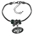 New York Jets Euro Bead Bracelet - This must-have New York Jets Euro Bead Bracelet is fashioned with the trendy euro style beads and an eye catching New York Jets charm to create a designer inspired New York Jets euro bead bracelet. This is a true statement piece with 4 euro beads, a rhinestone accent and stylish New York Jets charm beaded onto a 7.5 inch snake chain with a 2 inch extender for an adjustable fit. This contemporary look is perfect for game day but chic enough for everyday.