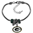 Green Bay Packers Euro Bead Bracelet - We have combined the wildly popular Euro style beads with your favorite team to create this Green Bay Packers euro bead bracelet. The 7.5 inch snake chain with 2 inch extender features 4 Euro beads with enameled Green Bay Packers colors and rhinestone accents with a high polish, plus a nickel free Green Bay Packers charm. Perfect way to show off your Green Bay Packers pride.