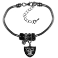 Oakland Raiders Euro Bead Bracelet - We have combined the wildly popular Euro style beads with your favorite team to create this Oakland Raiders euro bead bracelet. The 7.5 inch snake chain with 2 inch extender features 4 Euro beads with enameled Oakland Raiders colors and rhinestone accents with a high polish, plus a nickel free Oakland Raiders charm. Perfect way to show off your Oakland Raiders pride.