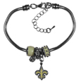 New Orleans Saints Euro Bead Bracelet - We have combined the wildly popular Euro style beads with your favorite team to create this New Orleans Saints euro bead bracelet. The 7.5 inch snake chain with 2 inch extender features 4 Euro beads with enameled New Orleans Saints colors and rhinestone accents with a high polish, plus a nickel free New Orleans Saints charm. Perfect way to show off your New Orleans Saints pride.