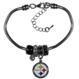 Pittsburgh Steelers Euro Bead Bracelet - We have combined the wildly popular Euro style beads with your favorite team to create this Pittsburgh Steelers euro bead bracelet. The 7.5 inch snake chain with 2 inch extender features 4 Euro beads with enameled Pittsburgh Steelers colors and rhinestone accents with a high polish, plus a nickel free Pittsburgh Steelers charm. Perfect way to show off your Pittsburgh Steelers pride.