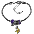 Minnesota Vikings Euro Bead Bracelet - This must-have Minnesota Vikings Euro Bead Bracelet is fashioned with the trendy euro style beads and an eye catching Minnesota Vikings charm to create a designer inspired Minnesota Vikings euro bead bracelet. This is a true statement piece with 4 euro beads, a rhinestone accent and stylish Minnesota Vikings charm beaded onto a 7.5 inch snake chain with a 2 inch extender for an adjustable fit. This contemporary look is perfect for game day but chic enough for everyday.