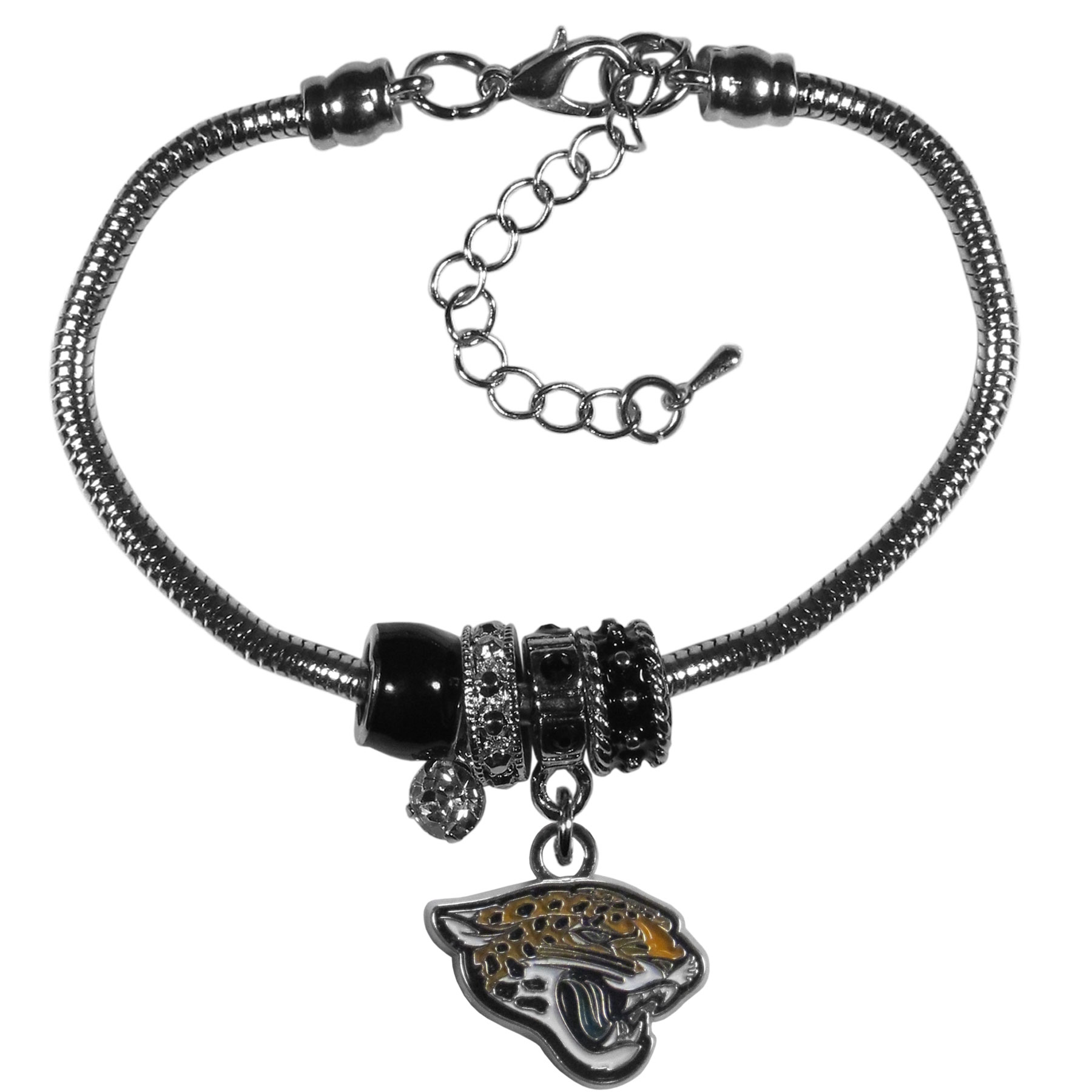 Jacksonville Jaguars Euro Bead Bracelet - This must-have bracelet is fashioned with the trendy euro style beads and an eye catching team charm to create a designer inspired Jacksonville Jaguars bead bracelet. This is a true statement piece with 4 euro beads, a rhinestone accent and stylish team charm beaded onto a 7.5 inch snake chain with a 2 inch extender for an adjustable fit. This contemporary look is perfect for game day but chic enough for everyday.